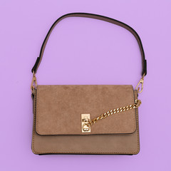 Fashion beige ladies clutch. Flat lay style concept