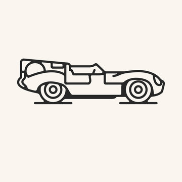 Vector illustration of a vintage 1950s endurance sports car in outline style.