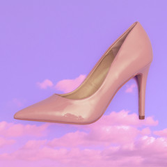 Stylish beige high heel shoes. Flat lay fashion collage art