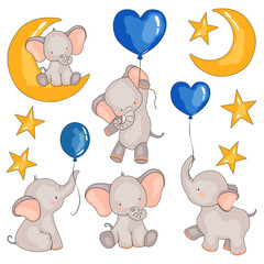 set of pictures of elephants, balloons, and an elephant for months