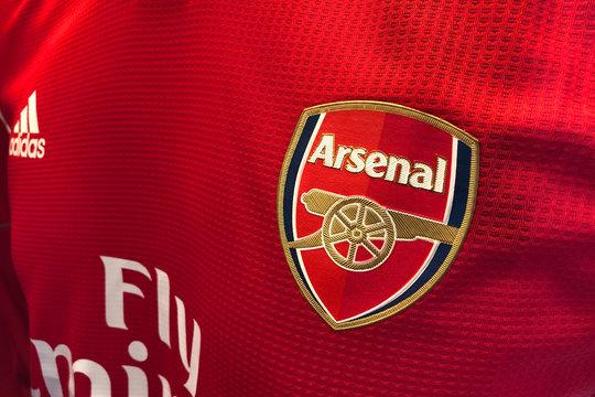 BANGKOK, THAILAND - SEPTEMBER 24: the logo on Arsenal Football Jersey on September 24,2019