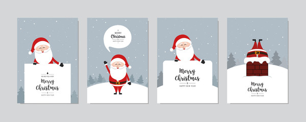 Wall Mural - Christmas card set. Merry Christmas and Happy New Year greeting with cute santa claus lettering vector.
