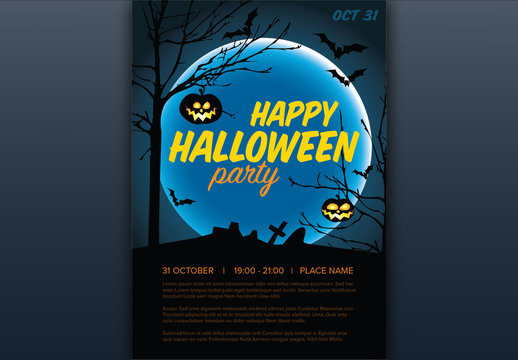 Halloween Party Flyer Layout with Illustrated Graveyard