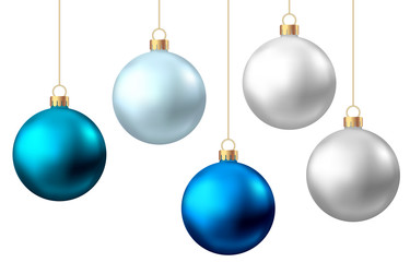 Fotomurales - Realistic  blue, silver  Christmas  balls  isolated on white background.