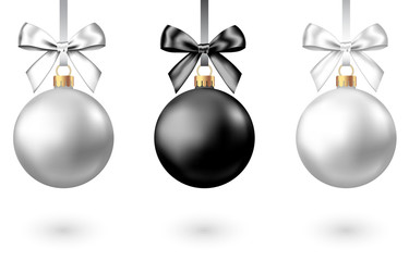 Fotomurales - Realistic  black, silver  Christmas  balls  with bow.
