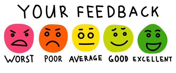 Cute feedback emotion icons. Colorful emotions signs, cartoon emotional faces for communication and support satisfaction concepts, client happiness survey icon set. Vector illustration.