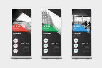 Business Roll-Up Banner 3 Colors Layout