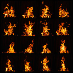 Papiers peints Feu, Flamme Fire flame. A fire in the grill, fireplace and hot hearth. Burning fire at night.