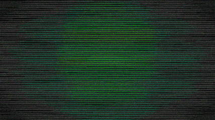 Green Digital Screen Noise in Vignette Dark Background