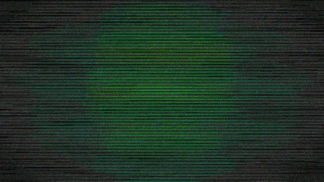 Green Digital Screen Noise in Vignette Dark Background