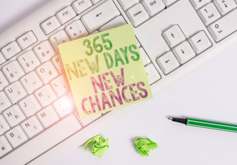 Writing note showing 365 New Days New Chances. Business concept for Starting another year Calendar Opportunities Green note paper with pencil on white background and pc keyboard