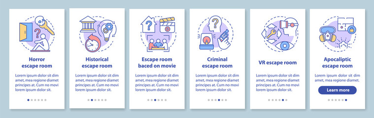 Escape room types onboarding mobile app page screen with linear concepts. Quest game classification, categories. Walkthrough graphic instructions. UX, UI, GUI vector template with illustrations