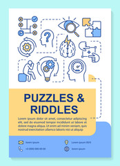 Puzzles and riddles poster template layout. Escape room banner, booklet, leaflet print design with linear icons. Solution search vector brochure page layout for magazines, advertising flyers