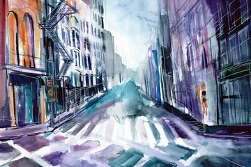 Ręcznie malowany akwarelą widok ulicy  w Nowym Jorku w USA