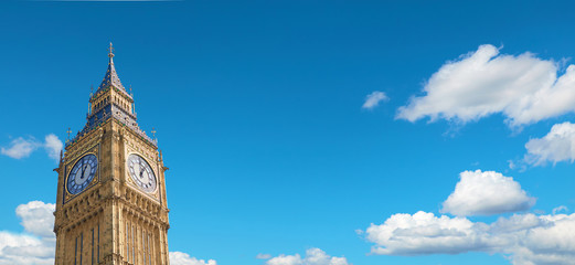 Big Ben Clock Tower in London, UK, on a bright day, panoramic image