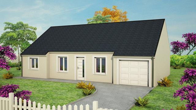 maison plain pied avec avancées garage couverture ardoises