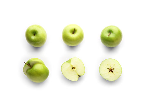 Fresh ripe apples on light background