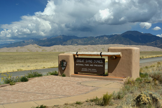 MOSCA, CO, USA - August 31, 2019: Great Sand Dunes National Park and Preserve in Colorado is the site of the largest sand dunes in North America.