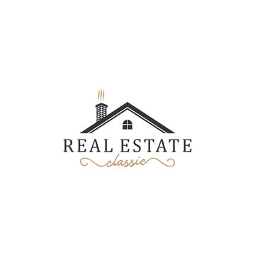 Classic real estate logo with house elements along with old model chimney