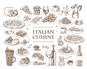 Italian Cuisine vector illustration. Set of traditional italian dishes. Food menu design template. Vintage hand drawn sketch. Engraved image