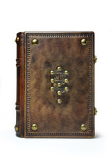 Leather book with kabbalah the tree of life surrounded with the embossed frame and metal pins
