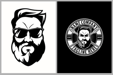 bearded man with a fork barbecue vector logo template