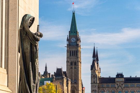 Statue Ivstitia & Canadian Parliament