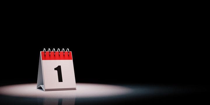 Calendar Spotlighted on Black Background, Day 1