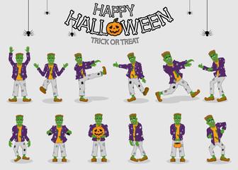 collection set of halloween monster costume Frankenstein