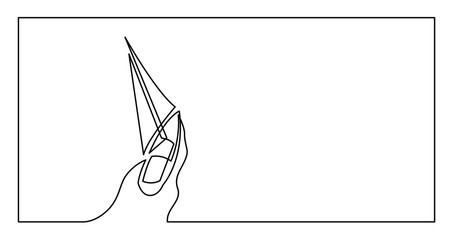 continuous line drawing of yacht sailing on sea