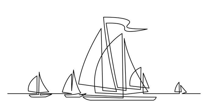 continuous line drawing of regatta with beautiful yachts sailing on ocean