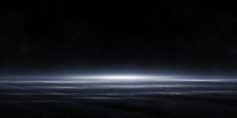 3D rendering Abstract asphalt light in a dark empty street with smoke, Dark background scene of empty street night city.