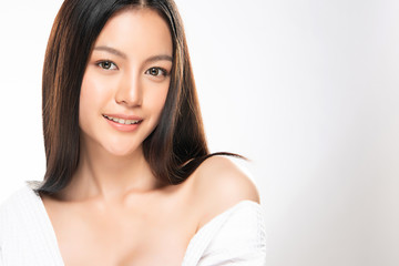 Beautiful Young Asian Woman with Clean Fresh Skin,