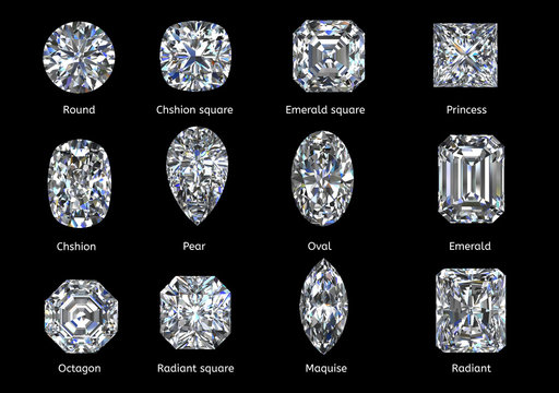 A set of twelve sparkling water diamonds with out line shape of various shapes and designs with their name, isolated Background top view Stock Illustration-3D rendering