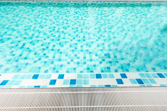 swimming pool at resort . relax and recreation concept , blue clean water in pool .