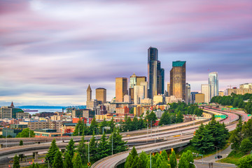 Fototapete - Seattle, Washington, USA downtown city skyline