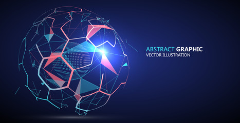 Abstract sphere composed of Points and lines, vector illustration.