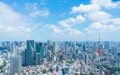 Spoed Foto op Canvas Tokio 東京風景 2019年9月 東京タワー&東京スカイツリーを望む大都会