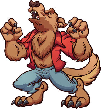 Howling cartoon werewolf with red shirt clip art. Vector illustration with simple gradients. All in a single layer.