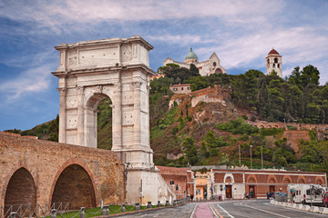 Ancona, Marche, Italy: the ancient Roman arch of Trajan in the port of the city