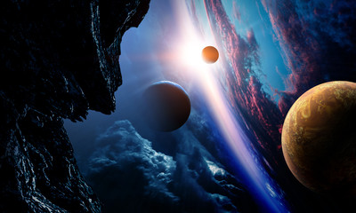 Abstract planets and space background Fotomurales