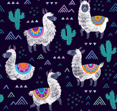 Endless llamas alpacas background. Seamless pattern with llamas, cactuses and decorative mountains.