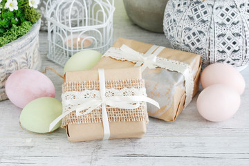 Easrter gifts decorated with lace and ribbon
