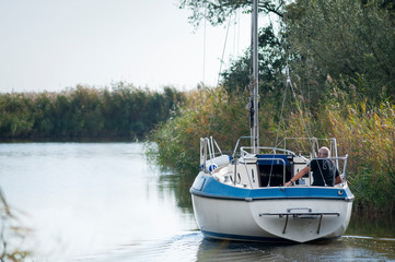 Autumn trip with yacht on lake neusiedlersee in Burgenland