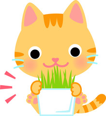 草を食べる猫のキャラクター