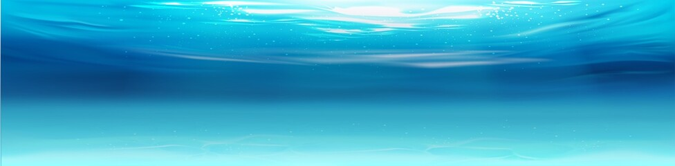 3D illustration. Realistic underwater background. Ocean deep water, sea under water level, sun rays blue wave horizon.