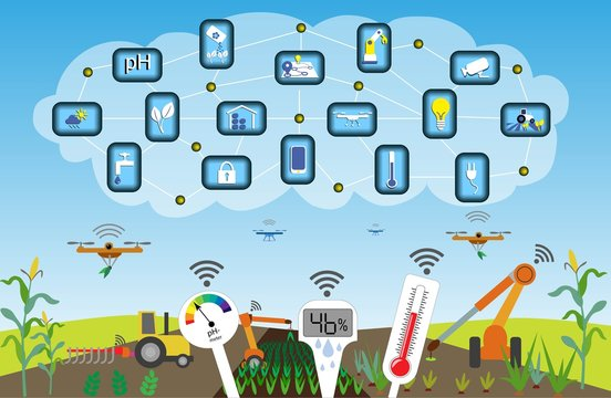 Future smart agriculture with automation and M2M (machine to machine) technology, enbled with 5G. Internet of Things. Smart ph- hygro- and thermometers enables optimized plant conditions.