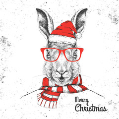 Christmas Hipster fashion animal rabbit dressed in New Year hat and scarf