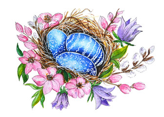 eggs in the nest easter postcard watercolor drawing