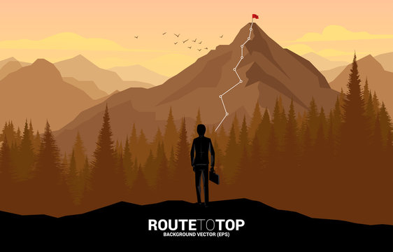 Businessman and Route to the top of mountain: Concept of Goal, Mission, Vision, Career path, Vector concept Polygon dot connect line style